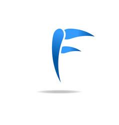F letter blue logo web icon vector