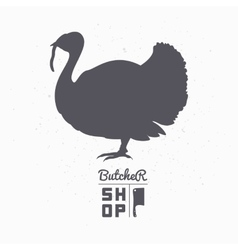 Farm bird silhouette Turkey meat Butcher shop vector image
