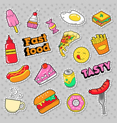 fast food badges patches stickers vector image
