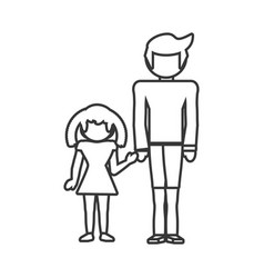 Father and girl daughter together outline vector