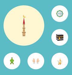flat icons decorative malay mecca and other vector image