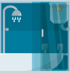 Flat set icon shower stall and heating vector