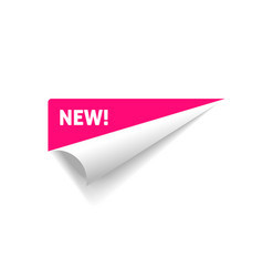 Folded corner rolled paper sticker with vector