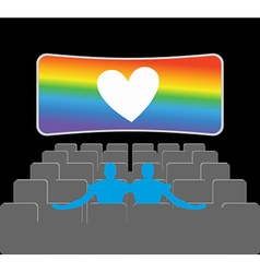 Gays in theater Two blue men in cinema hall Places vector image