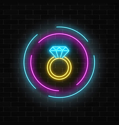 Glowing neon banner including a ring with a vector
