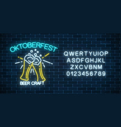 glowing neon banner of oktoberfest festival with vector image
