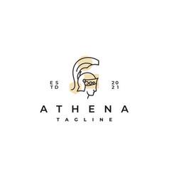 Goddess greek athena line art logo design vector