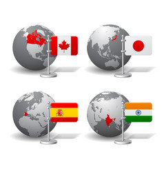 gray earth globes with designation canada vector image