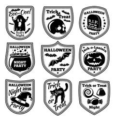 halloween labels set with pumpkin skull vector image