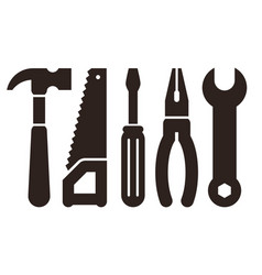 hammer saw screwdriver pliers and wrench tools vector image