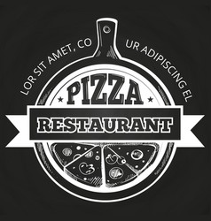 hand drawn pizzeria label on chalkboard vector image