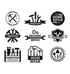 Handyman logo mechanic and home repair service vector