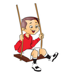 happy boy on swing vector image