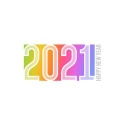 happy new year 2021 logo on rainbow background vector image