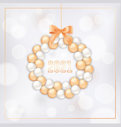 happy new year card with wreath made gold and vector image