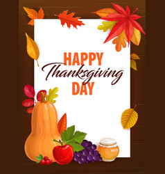 happy thanksgiving day greeting card frame vector image