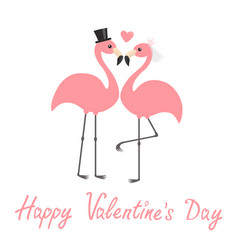 happy valentines day pink flamingo set wedding vector image