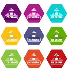Ice cream stand icons set 9 vector