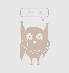 Icon funny owl with the words hello in the dialog vector