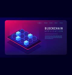 isometric blockchain application landing page vector image