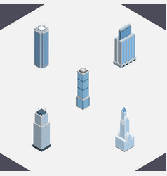 isometric building set of tower apartment vector image