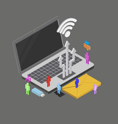 isometric people using internet around vector image