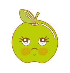 Kawaii cute thinking apple fruit vector