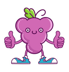 Kawaii smiling purple grape fruit with sneakers vector