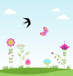landscape clouds flower swallow butterfly i vector image