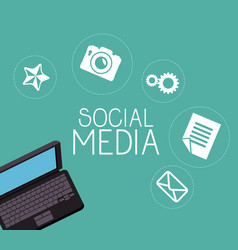 Laptop with social media icon vector