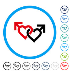 linked gay hearts rounded icon vector image