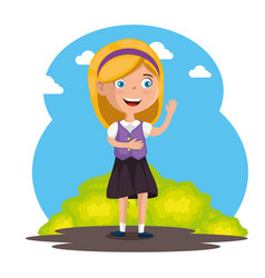 little girl happy character vector image