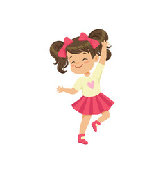 lovely brunette little girl dancing vector image