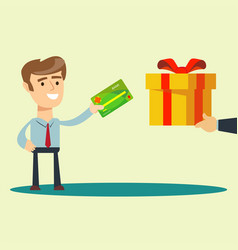 Man buys a gift vector