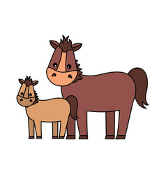 Mare and foal cartoon vector