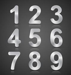 Metallic Silver Number Set vector