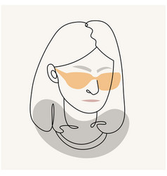 modern abstract facesilhouette a girl in glass vector image