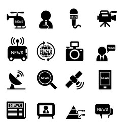News reporter icons vector