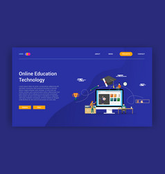 online education technology concept for learning vector image