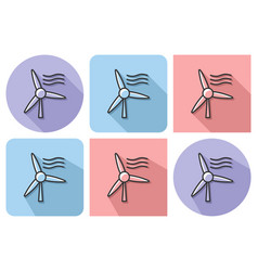 outlined icon of wind turbine with parallel and vector image