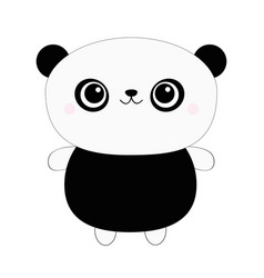 panda bear toy icon kawaii animal black and vector image
