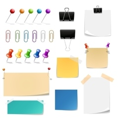 paper clips binders pins and note papers vector image
