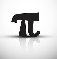 Pi Symbol - Icon - Black pi with Reflection vector