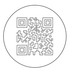 qr code icon black color in circle or round vector image
