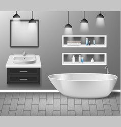 Realistic bathroom furniture interior with modern vector