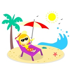 Relaxing Vacation On The Beach vector