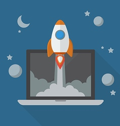 Rocket launching from laptop vector