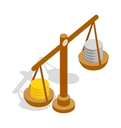 Scales with coins icon isometric 3d style vector image