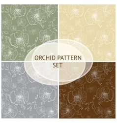Seamless pattern Orchid background set vector image