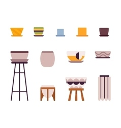 Set of retro pots and stands vector